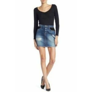 NEW Good American 8 Denim Jean Skirt Mini Mesh